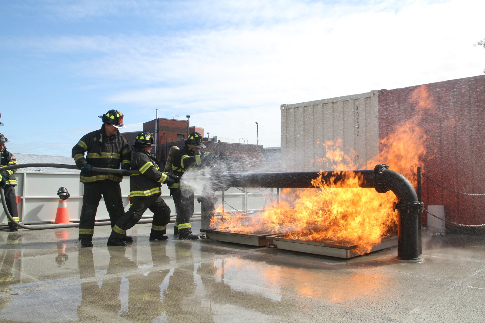 * Containerized-fire-training-structures